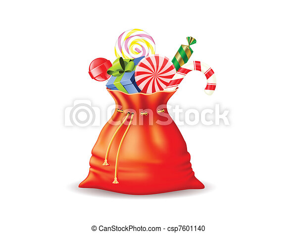 Vector Clipart of Santa's sack with gifts and different candies ...