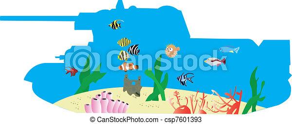 Fish Tank Drawing Vector Tropical Fish Tank