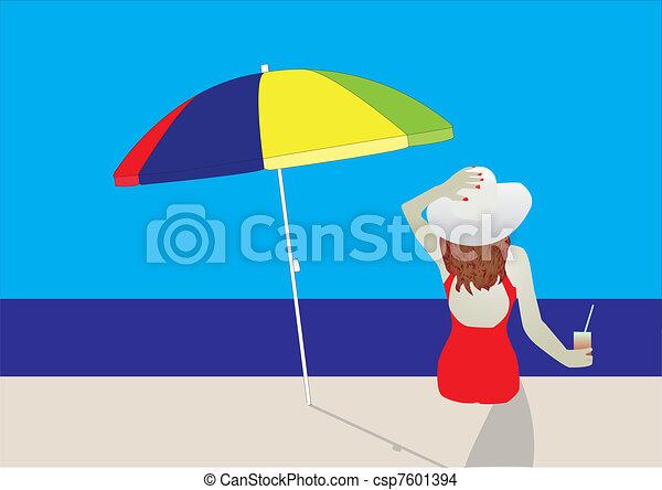 woman on beach - csp7601394