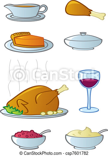 Holiday Dinner Food Items - csp7601782