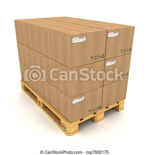 Cardboard boxes on pallet on white background - csp7602175