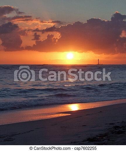 caribbean sunset - csp7602255