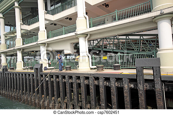 Ferry board pier in hongkong - csp7602451