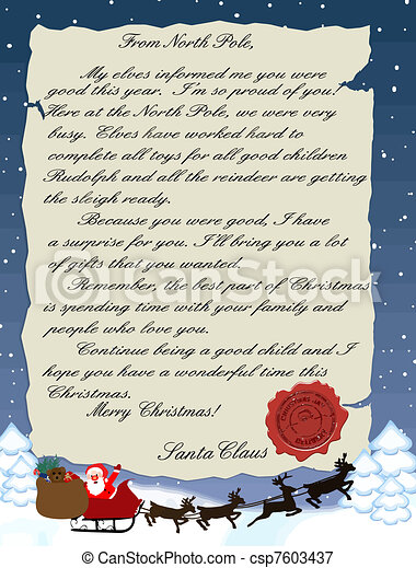 Vector - Letter from Santa Claus - stock illustration, royalty free ...