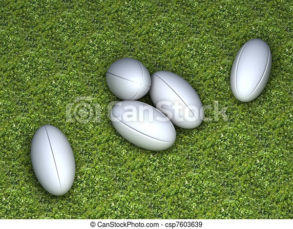 Five white rugby balls without any brand - csp7603639