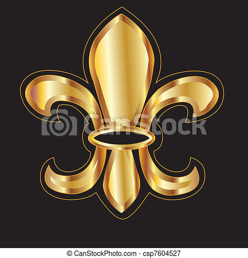 Golden glowing flour de lis - csp7604527