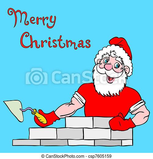 Santa Claus muscular builds a brick house. - csp7605159