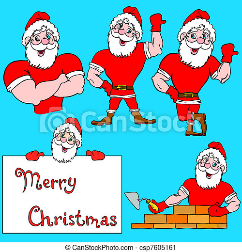 A set of pictures muscular Santa Claus  - csp7605161