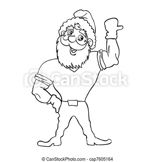 Muscular Santa Claus with a raised hand gesture. - csp7605164