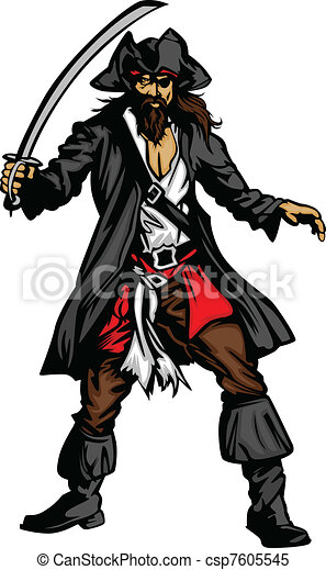 Pirate Mascot Standing with Sword  - csp7605545