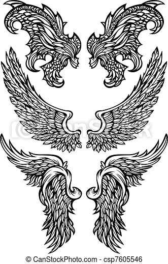 Angel Wings & Demon Wings Vector - csp7605546
