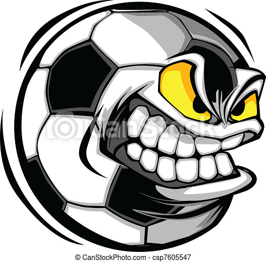 futbol, Pelota, cara, caricatura, vector - csp7605547