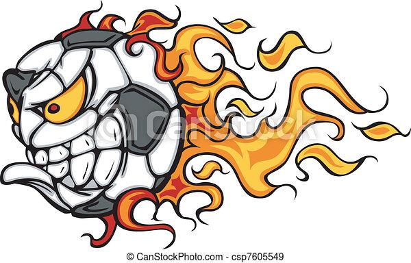 Soccer Ball Flaming Face Vector - csp7605549