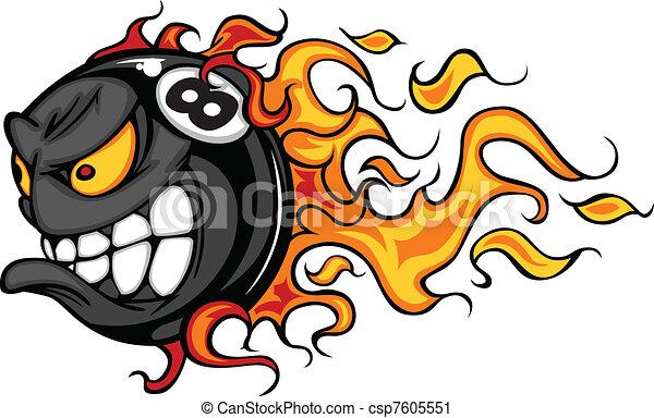 Billiards Eight Ball Flaming Face - csp7605551