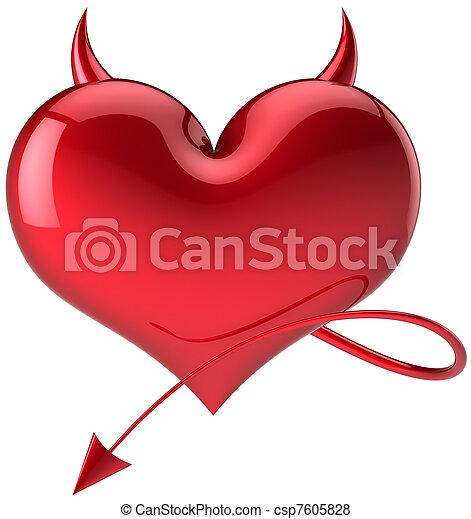 Love Devil heart shape total red - csp7605828
