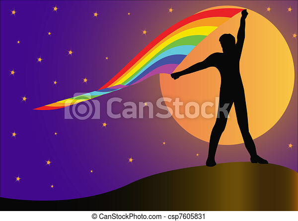 silhouette person who keeps developing rainbow on background - csp7605831