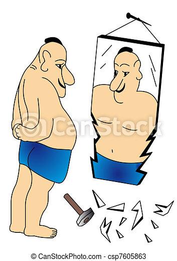 man beside broken mirrors. - csp7605863