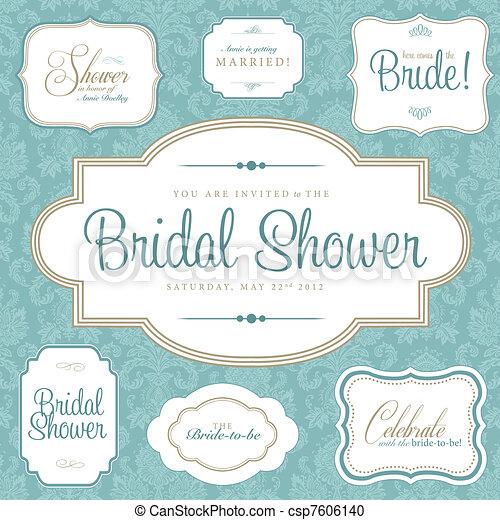 Vector Clipart of Vector Bridal Shower Frame Set. Easy to edit ...