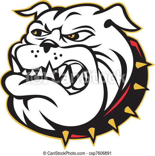 Bulldog mongrel dog head angry - csp7606891