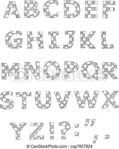 Hand written checkered alphabet - csp7607824
