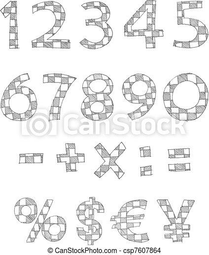 Hand written checkered numbers - csp7607864