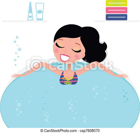 Cute woman relaxing in jacuzzi, spa accessories ( retro )