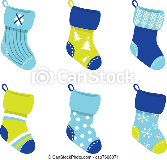 Blue retro Christmas Socks collection isolate on white  - csp7608071