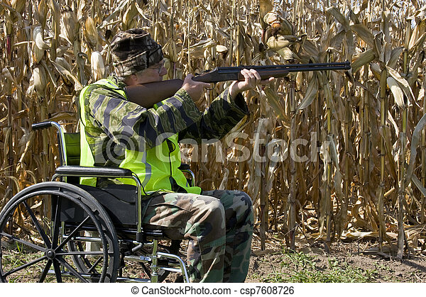 hunter safety in a wheelchair - csp7608726