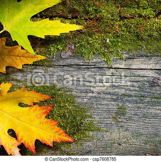 viejo, hojas, otoño, madera, Plano de fondo,  Grunge, arte - csp7608785