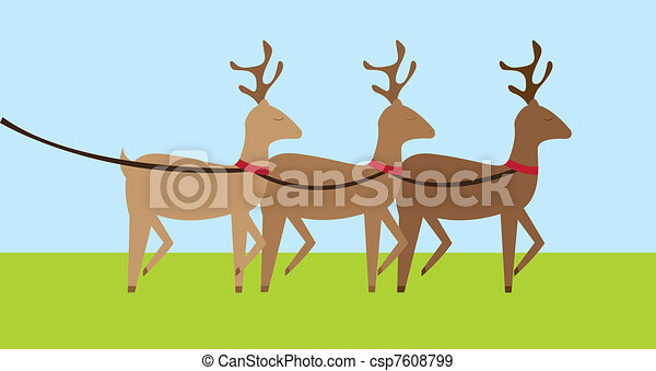 reindeers cartoon - csp7608799