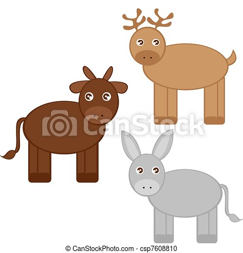 reindeer, donkey and ox - csp7608810