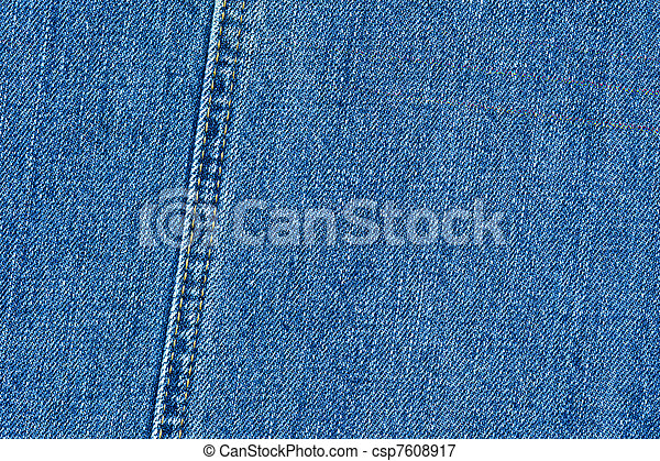 High quality detailed denim texture - abstract blue jeans background with double thread's seam - csp7608917