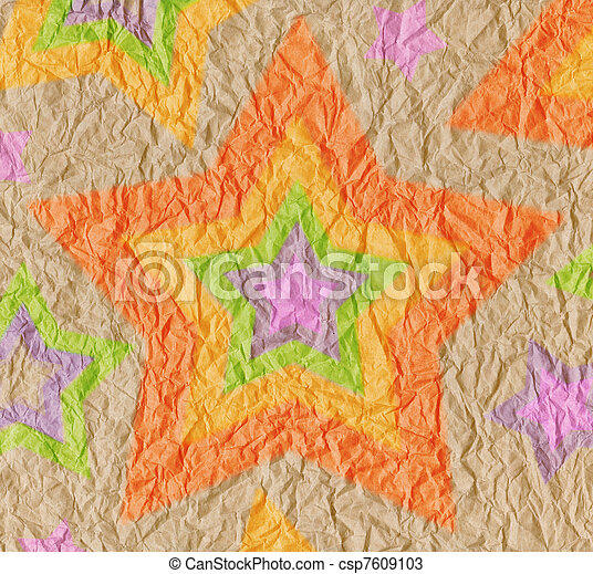 Designed crumpled vintage paper background with stars of bright rainbow colors - csp7609103