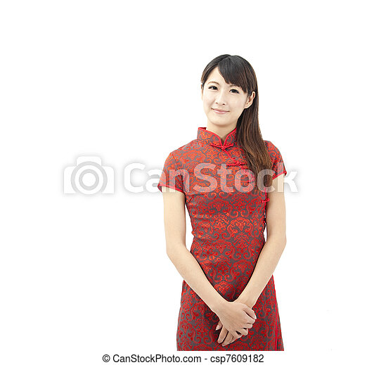 Chinese young woman and traditional clothing  cheongsam - csp7609182
