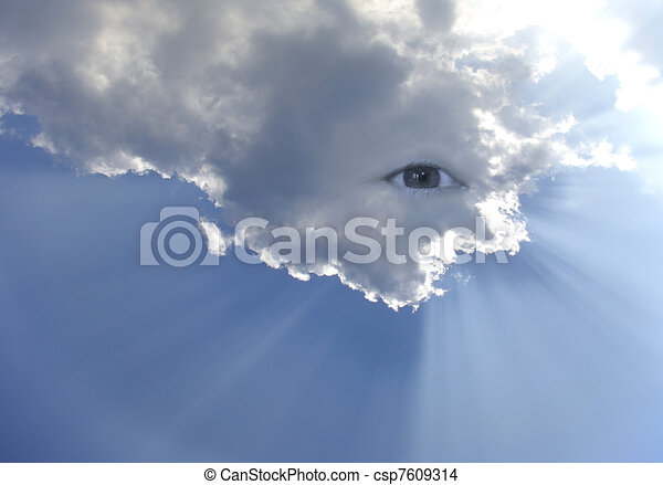 Big eye in the sky with lot of rays - csp7609314
