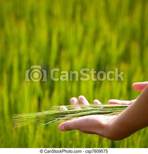 Symbolic gesture suggesting fertility, plenitude, health - csp7609575