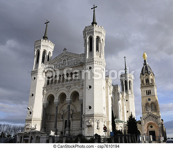 Large view of Fourviere cathedral in Lyon city - csp7610194