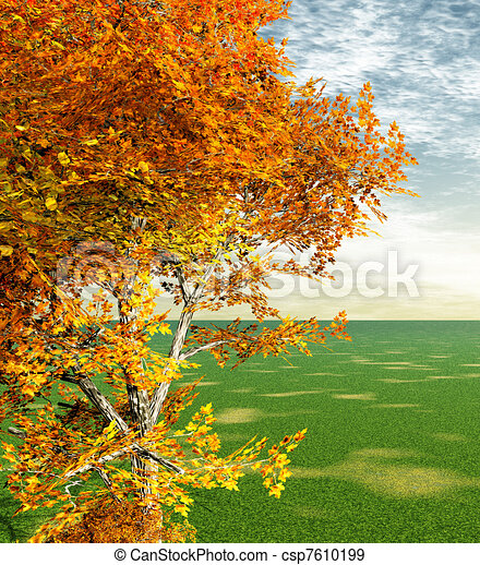 stock illustration of autumn scenery csp7610199 search