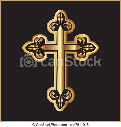 Gold christianity cross vector - csp7611915