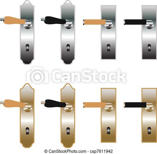 Vector illustration of door handles in bronze and metal - Door handle clipart ...
