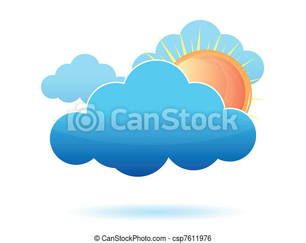 clouds and sun illustration design  - csp7611976