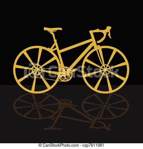 gold bicycle on black background - csp7611981