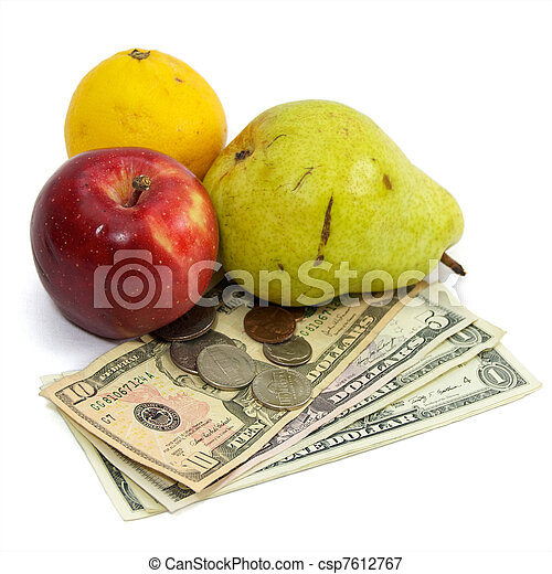 cost of food fruit and money on white - csp7612767