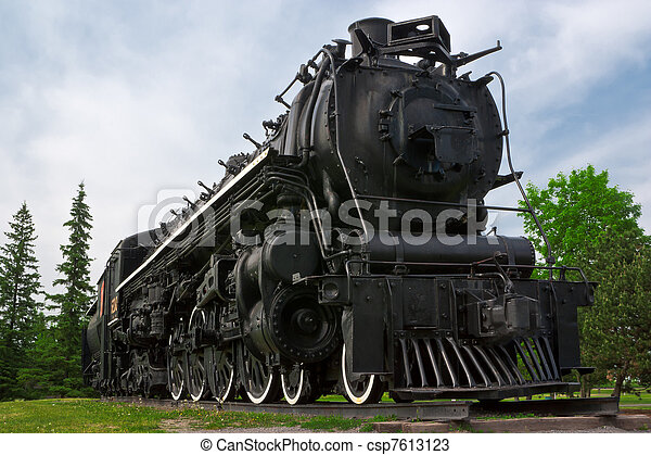 Historic Steam Powered Freight Train - csp7613123