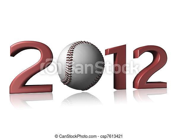 2012 baseball design on a white background - csp7613421