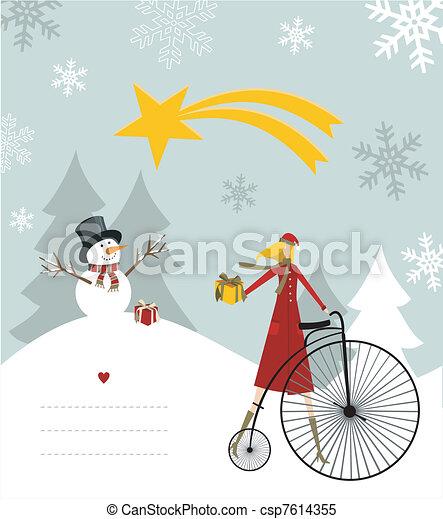 Snowman and star of Bethlehem card. - csp7614355