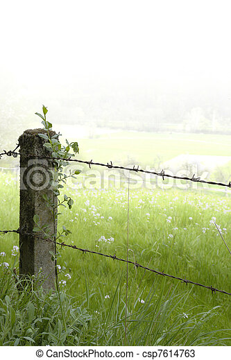 rural fence detail - csp7614763