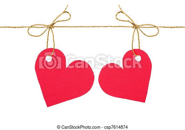 """Bows with red tags """"heart""""  - csp7614874"""