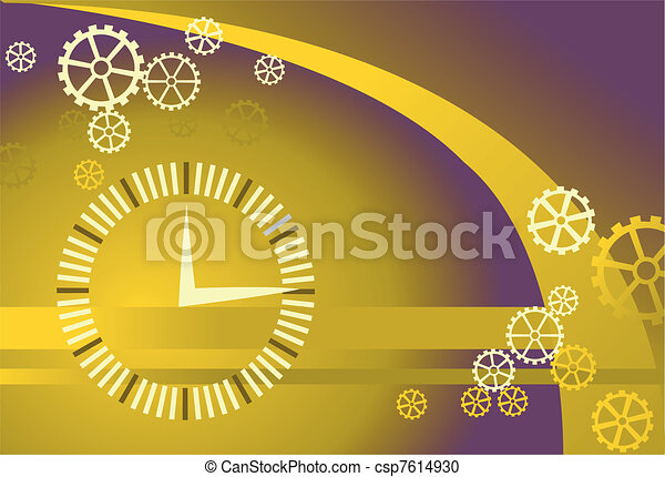 Vector gears and clock background - csp7614930