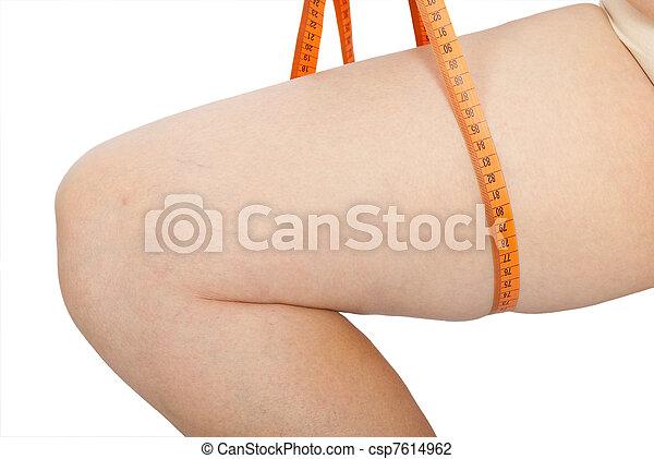 Fat woman measure her leg - csp7614962